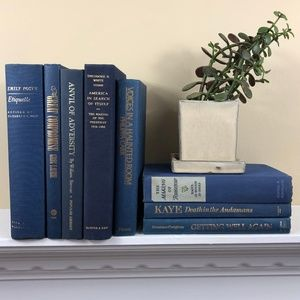Other - 8 Blue Navy Books Shelf Decor Lot for Staging